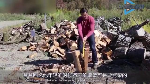 """澳洲大叔发明""""飞轮斧"""",劈柴快如风,再也不担心被木头卡住"""