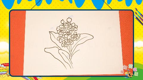 手绘植物花卉简笔画之画报春花