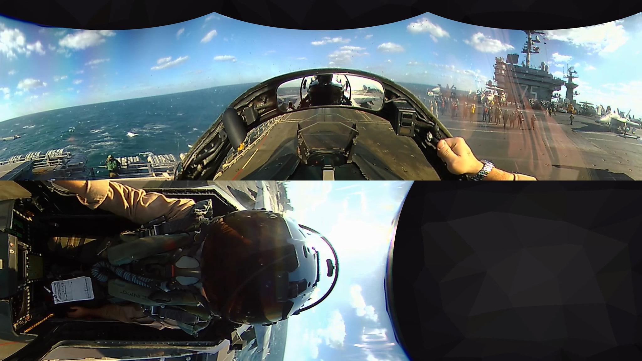 三百六十度全景,看美军F-18大黄蜂舰载机,从航母上弹射起飞!