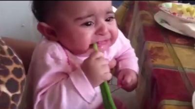 刚断奶的小宝宝竟然对大葱情有独钟,吃不到就哭,太可爱了!