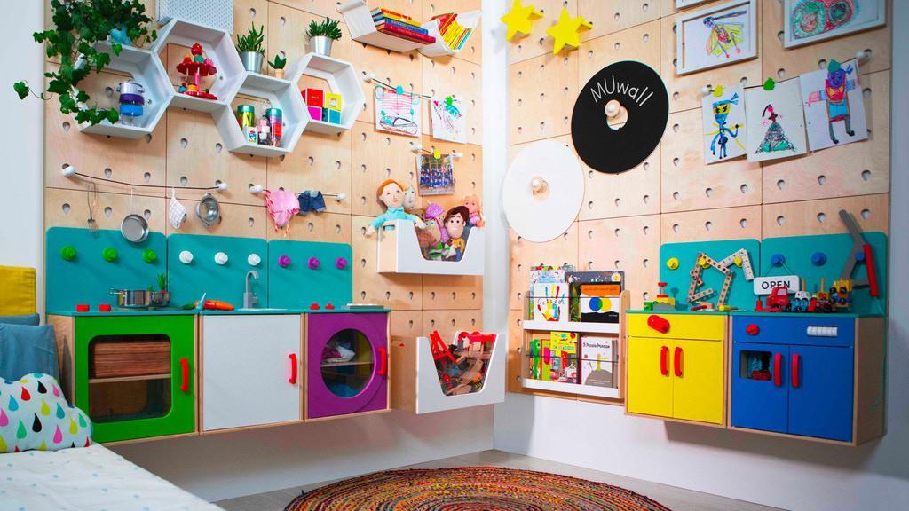 """升级""""洞洞板""""?多种功能配件,利用垂直空间,孩子自学物品收纳"""
