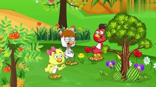 儿童卡通片:萌萌哒小鸡摘了好多的美味水果