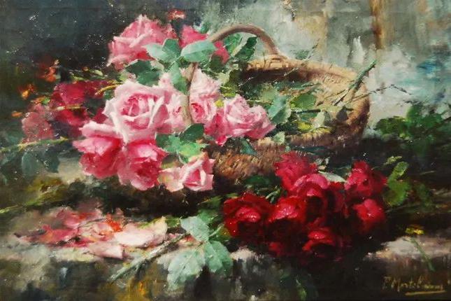 美丽的玫瑰花,他的作品介于印象派和现实主义之间