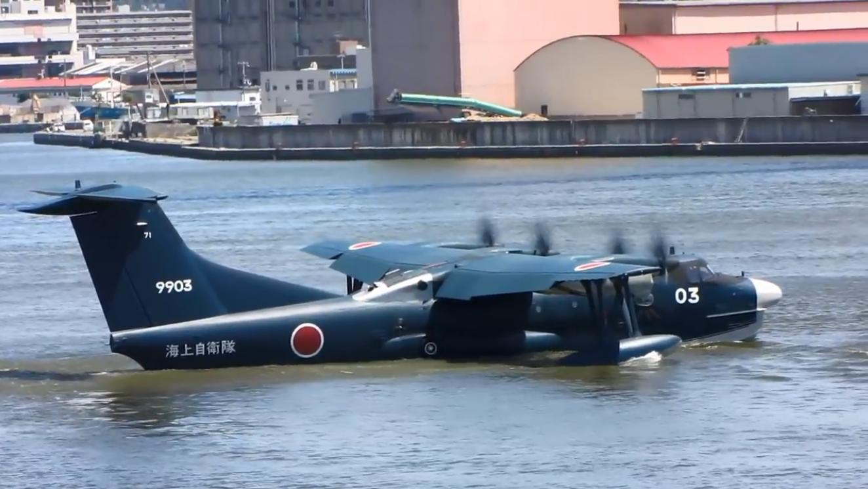 日本新明US-2两栖飞机,水面短距起飞展示,不容小觑的军工科技