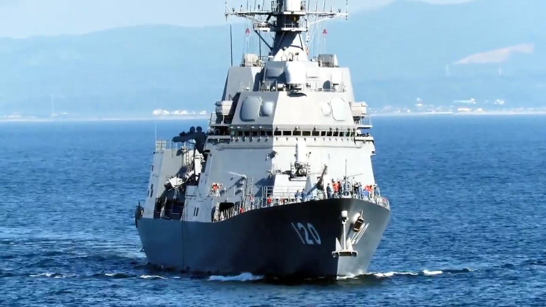 """日本海上自卫队,DD-120""""不知火""""号导弹驱逐舰,海面航行镜头"""