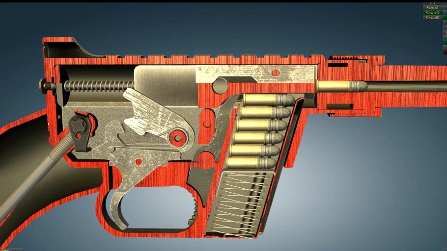 比较少见的亨利AR-7生存步枪,3D动画演示它的工作原理
