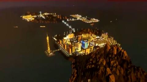 未来钓鱼岛的城市夜景:三座岛屿,用跨海大桥来连接,城市景点