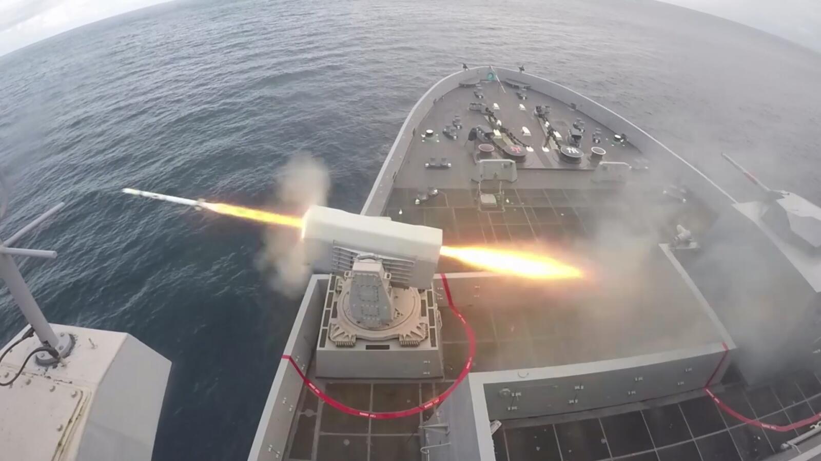 拉姆近防系统海上实弹射击,防空利器!