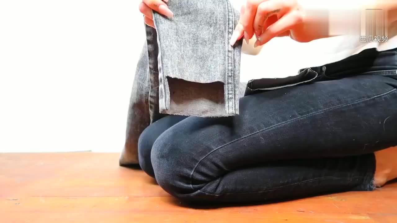 DIY不对称牛仔裤裤脚教程旧牛仔裤改造一下变身成时尚女裤