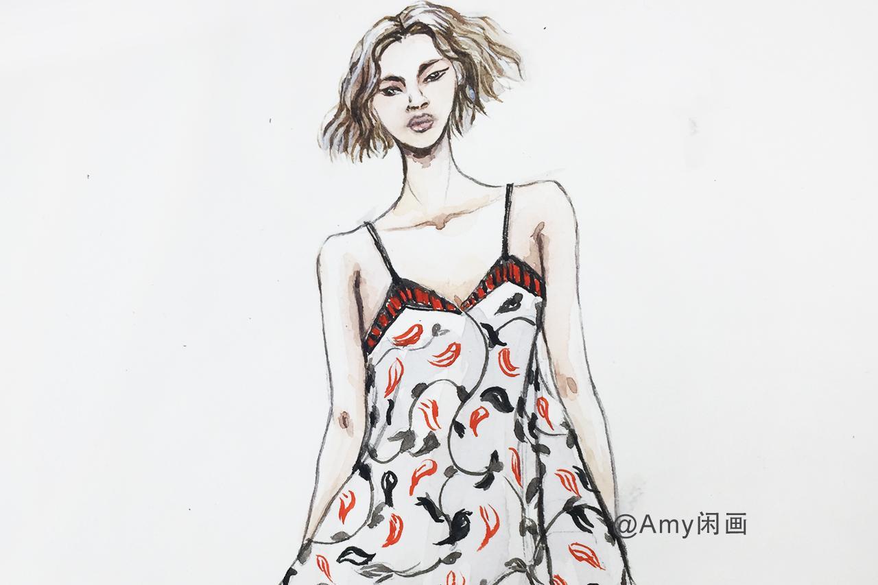 服装设计第55期 小清新吊带低领花鸟印花雪纺长裙水彩手绘图解