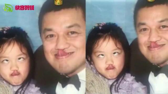 温馨!李嫣晒童年照为父亲李亚鹏庆生,斗鸡眼搞怪可爱十足。