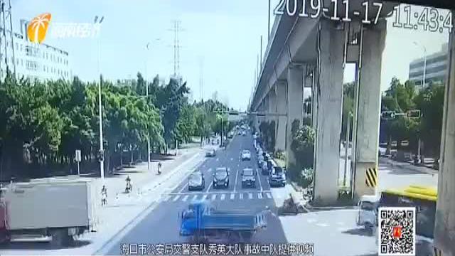 电动车驶入机动车道 路口闯红灯撞上皮卡