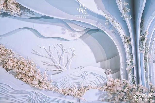 DODOWED婚礼案例推荐系列之扬州花弄影蓝粉色系婚礼布置案例