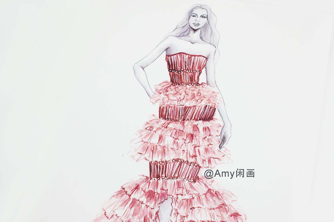 服装设计第54期  长形亮片抹胸多层大摆扡地长裙