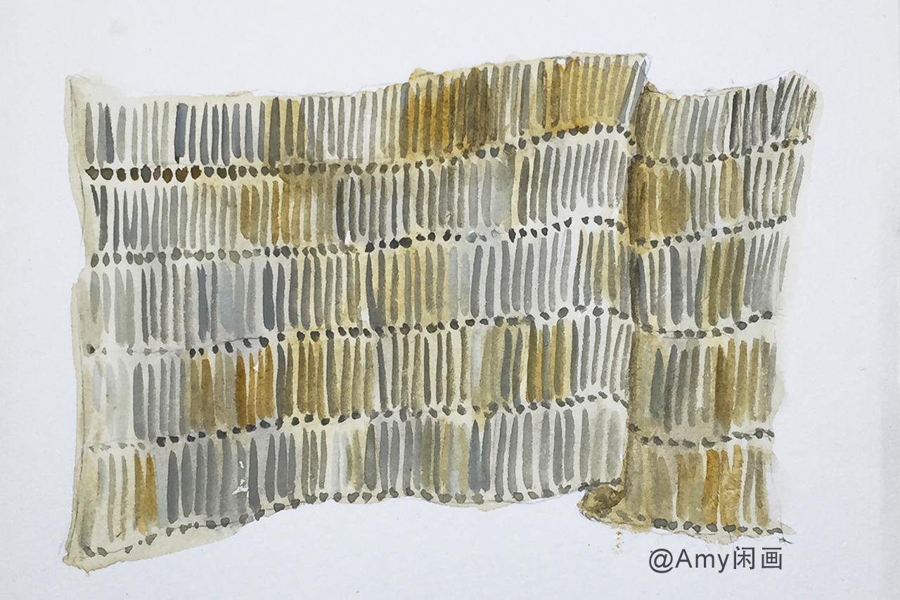 服装设计技法 水彩画手绘面料之 长形金属亮片