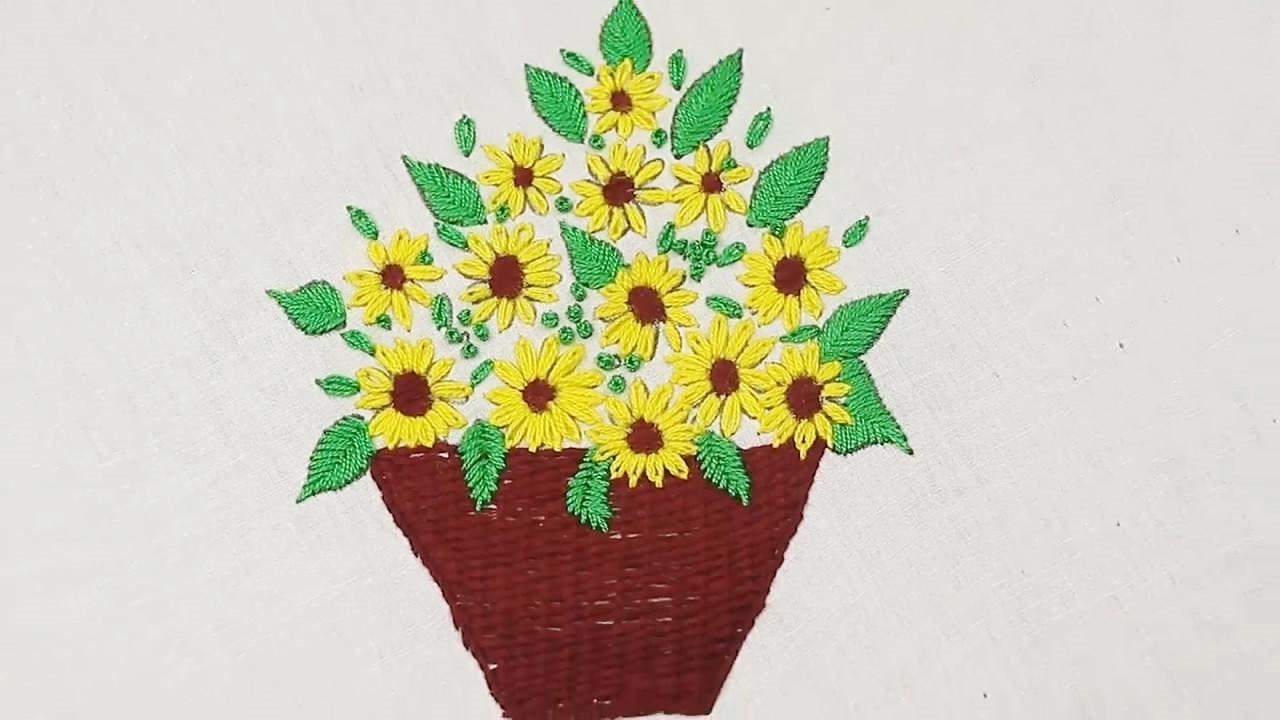 手工绣花的技巧,向日葵花篮的刺绣方法!