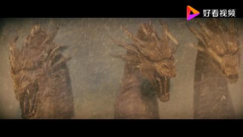 哥斯拉2怪兽之王:三头巨龙破冰而出,满身戾气展现恐怖战斗力!