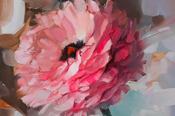 艺术家娜塔莉花卉油画