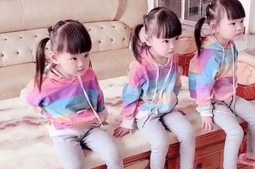 三胞胎女儿一模一样,爸爸傻傻分不清
