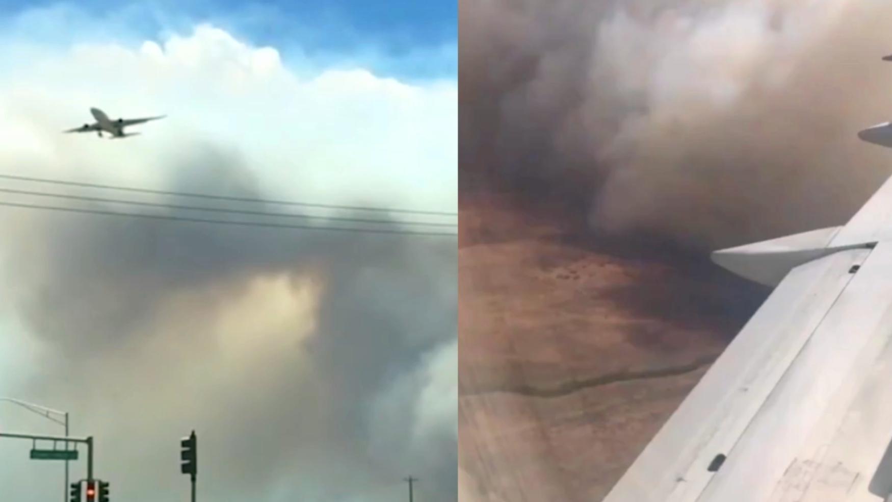 美国夏威夷大片灌木丛起火 漫天浓烟遮天蔽日 受灾面积12平方公里