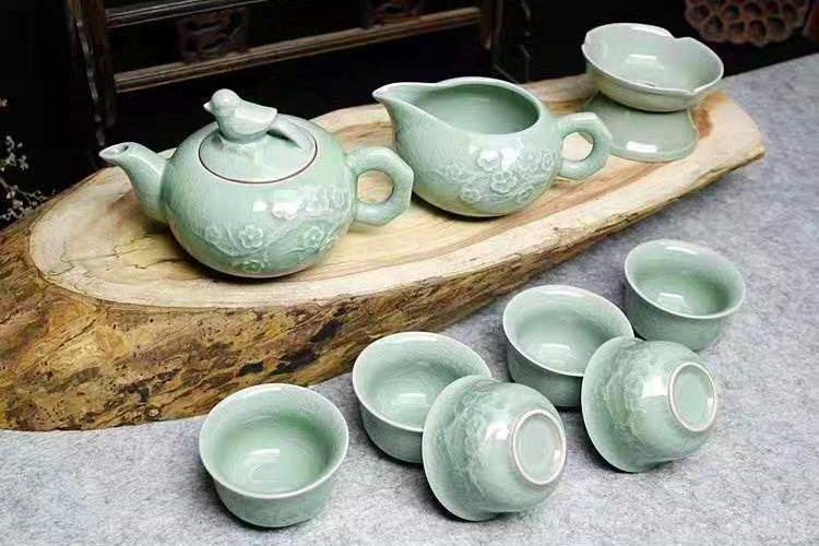 喜上眉梢汝瓷茶具十件套 汝之秀汝瓷套装礼盒