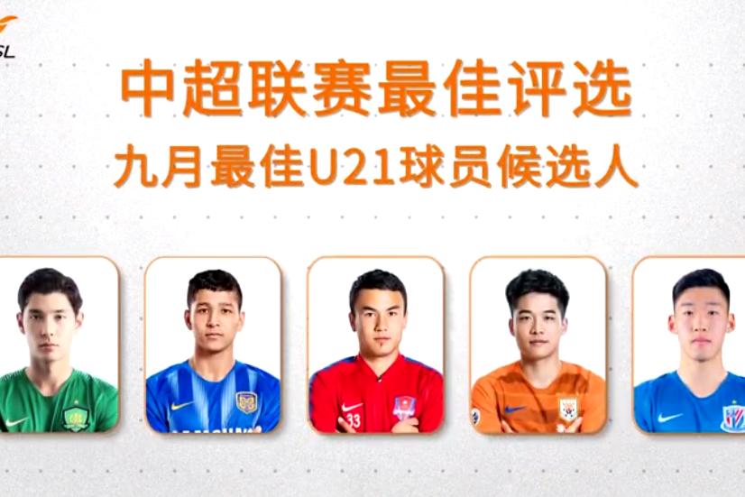 侯永永、朱辰杰等五名球员入选中超九月最佳U21球员候选名单