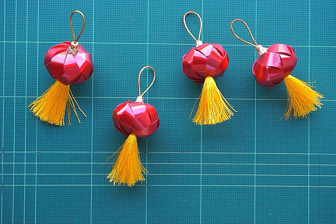 DIY彩带红灯笼的方法,步骤详细,简单易学!