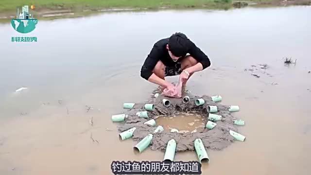 民间高手用塑料管自制捕鱼神器学会这个方法有吃不完的鱼