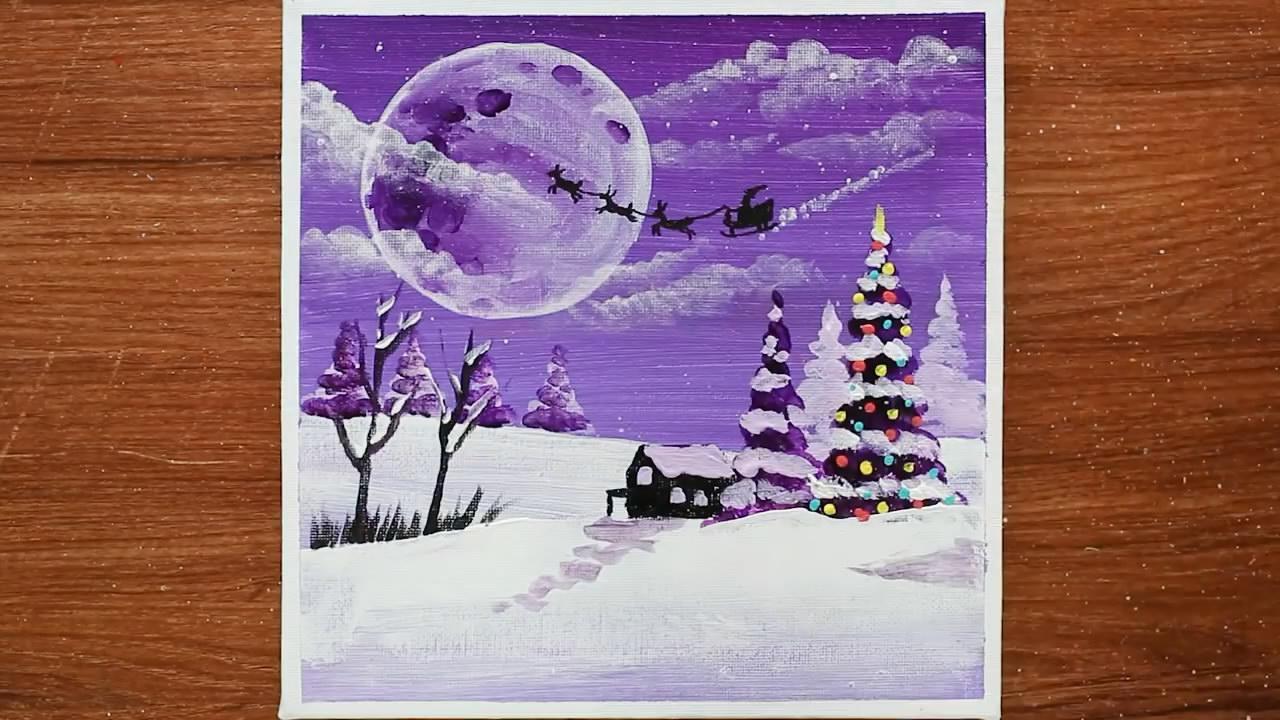 手工绘画教程,美丽圣诞夜的简单画法!
