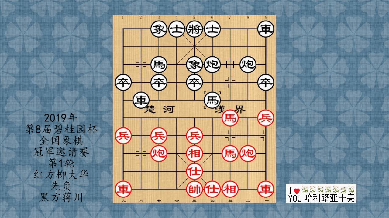 2019年第8届碧桂园杯全国象棋冠军邀请赛1轮,柳大华先负蒋川