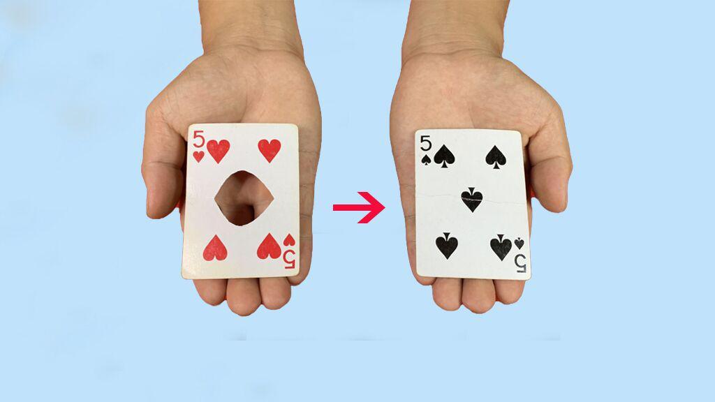 魔术揭秘:扑克牌上面的洞,隔空从左边隔空转移右边!方法特简单