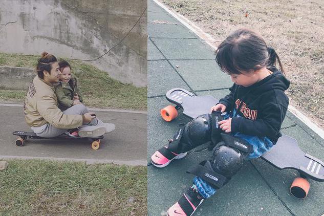 jojo和爸爸欧汉声坐滑板车,妻子郑元灿当摄影师,一家人好幸福