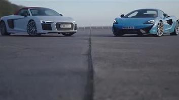 经典的大对决Audi R8 V10 Plus vs McLaren 570S谁敢称王