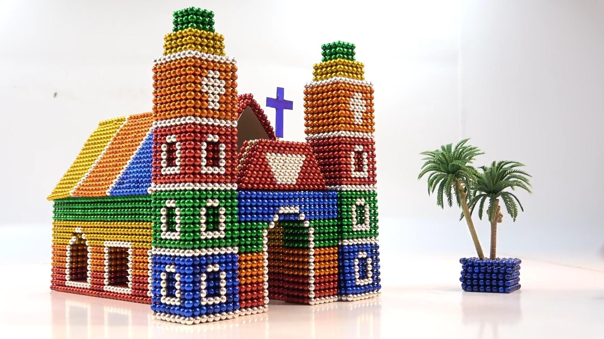 趣味手工:磁力珠DIY的法国大教堂