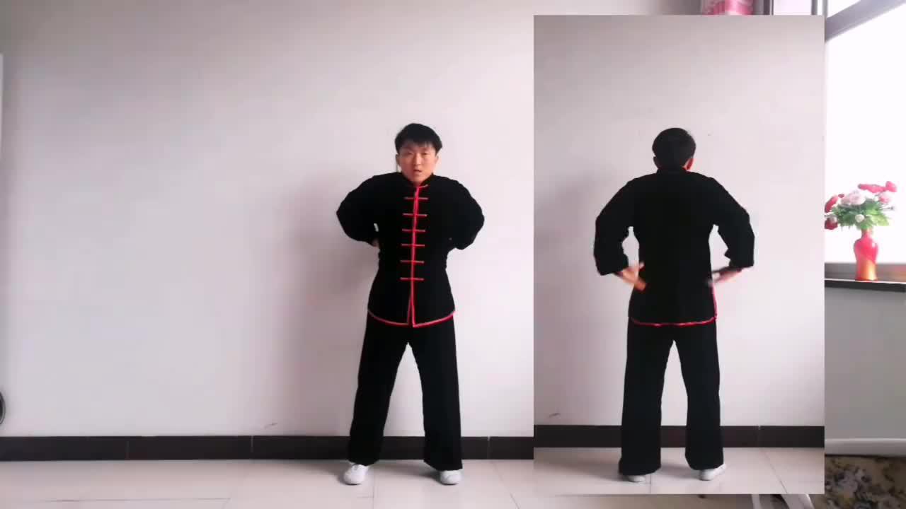 传统健身功法八段锦第6式两手攀足固肾腰调理腰背固肾强精