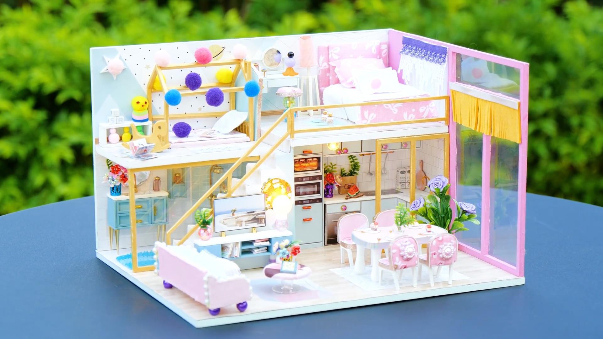 DIY迷你娃娃屋,小清风的粉色宝宝屋