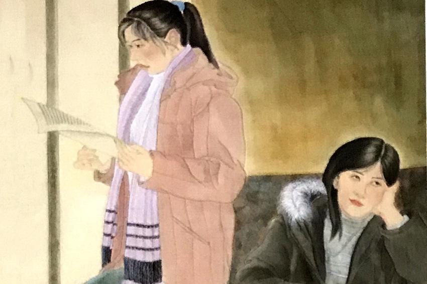 晨光里释卷获益,飞天女琵琶反弹——国画人物艺术作品