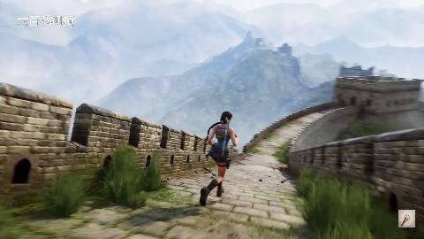 古墓丽影游戏演示,美女劳拉在长城的历险,这是第一部分