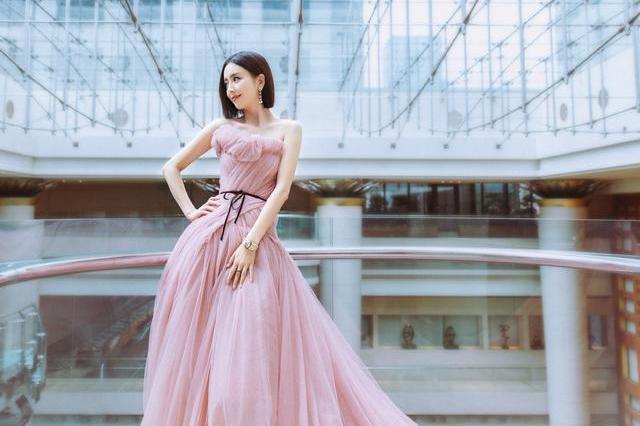 佟丽娅状态回春,抹胸粉裙穿得优雅娇美,合影岳云鹏太抢镜了