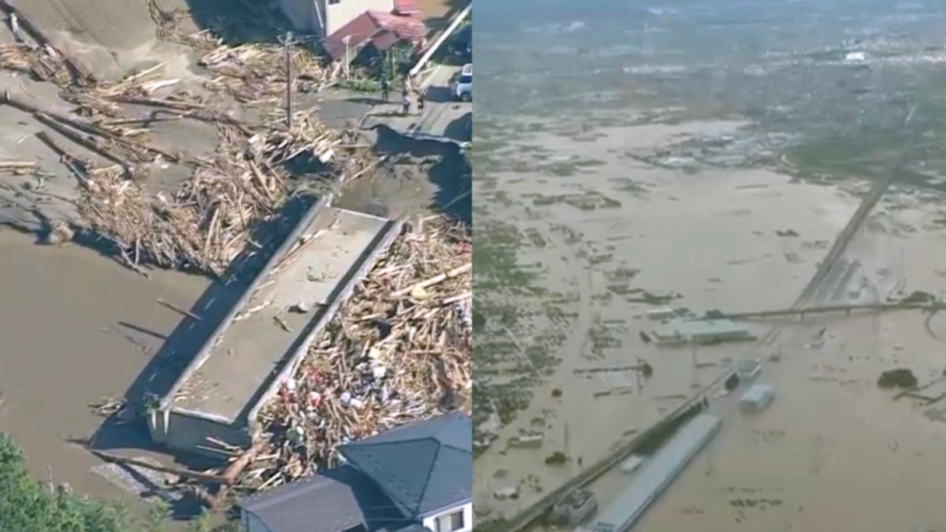 """航拍强台风过境日本已致47死 新干线被淹 街道被水""""填满"""""""