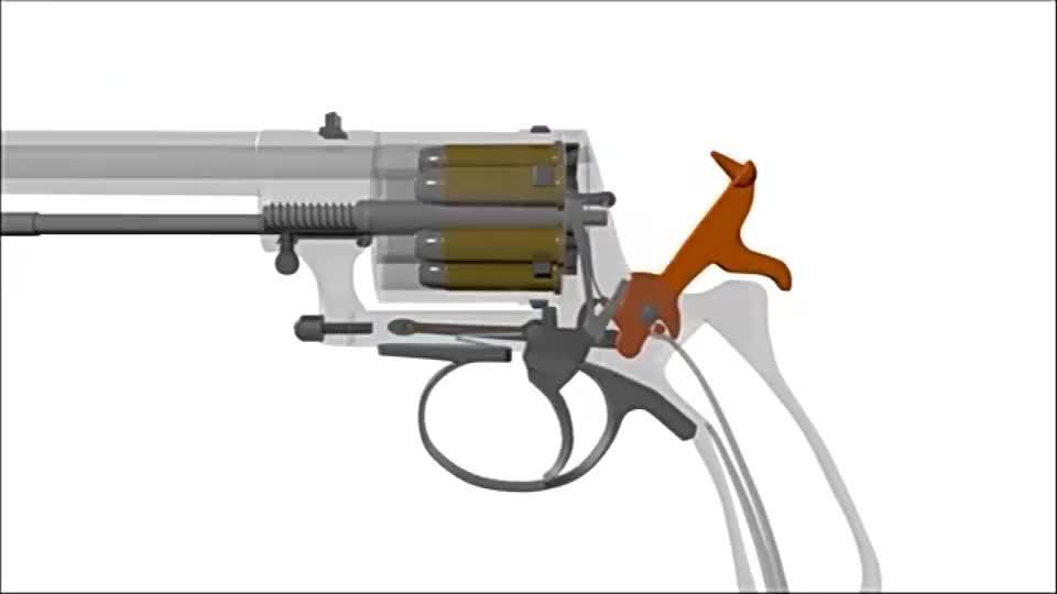最早期的加瑟转轮手枪3D动画演示工作原理