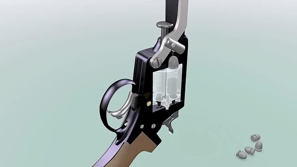 最早期的M1858转轮手枪加弹方式很复杂3D动画演示原理