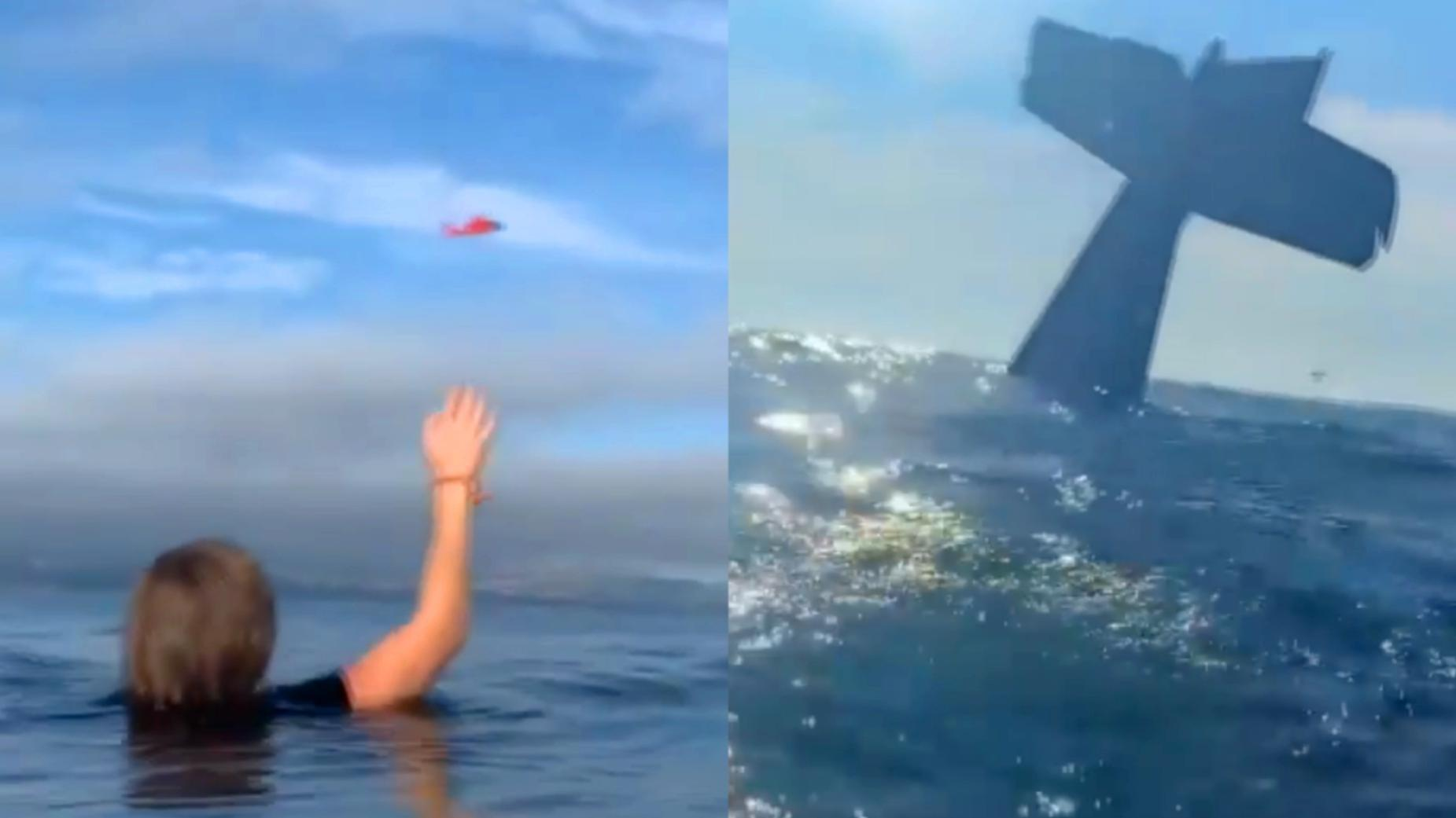 飞机引擎失灵迫降 机长乘客太平洋漂流 恰巧附近有救援机演练被救