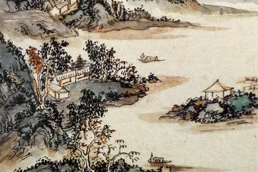 空山起白云,平湖荡扁舟:国画山水艺术作品