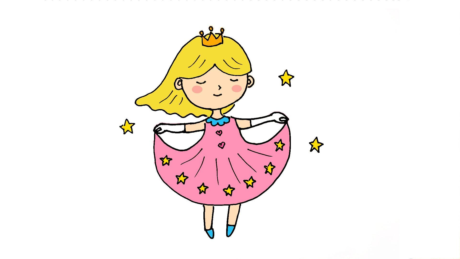 好可爱!一起学画漂亮的小公主简笔画吧