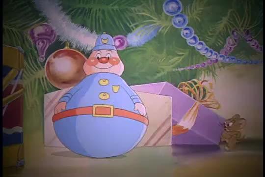 猫和老鼠杰瑞在圣诞夜要和汤姆玩捉迷藏