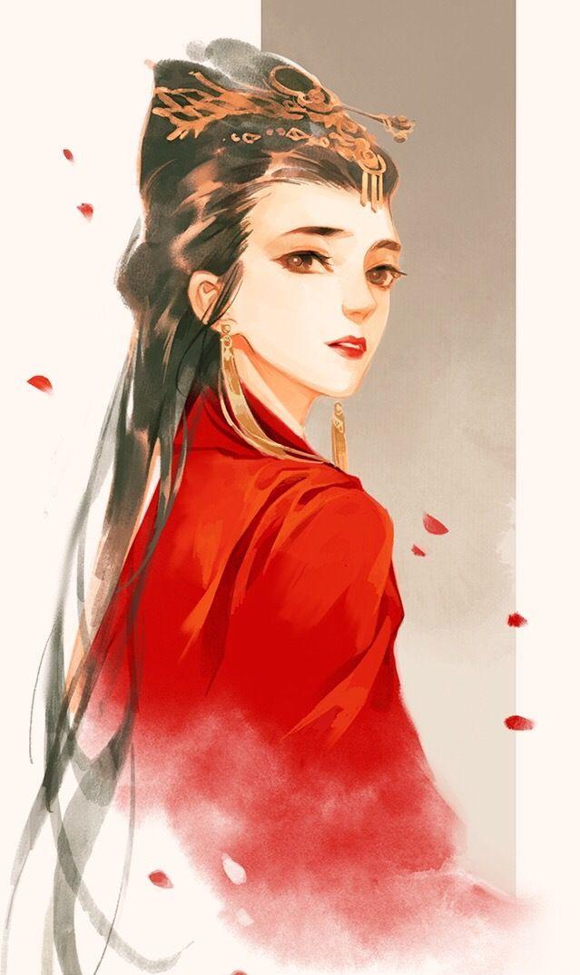 古风手绘红衣美人壁纸,夏花,在炎夏的午后绽放!