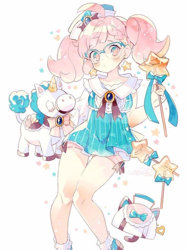 人物绘画,蓝色系可爱的卡通动漫女孩,细节画的超棒