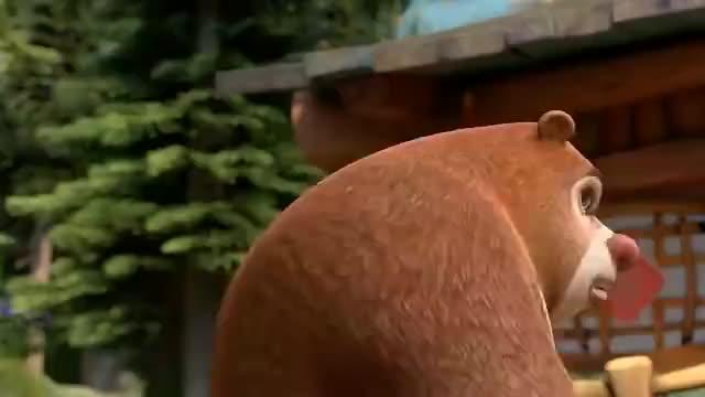 熊出没之夺宝熊兵熊二不舍得铲除它的草莓蘑菇熊大安慰鼓励它