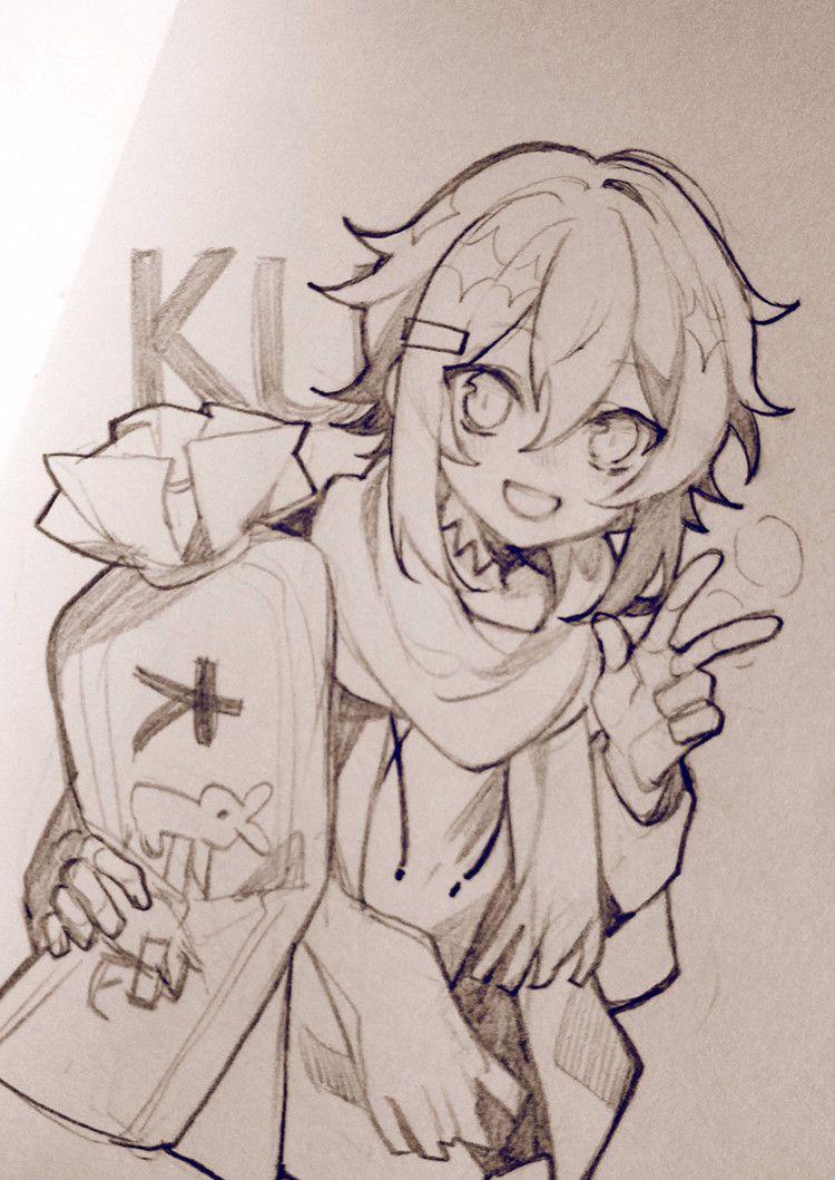 铅笔手绘,可爱的动漫美少女线稿